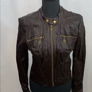 NWOT Guess brown faux leather moto jacket